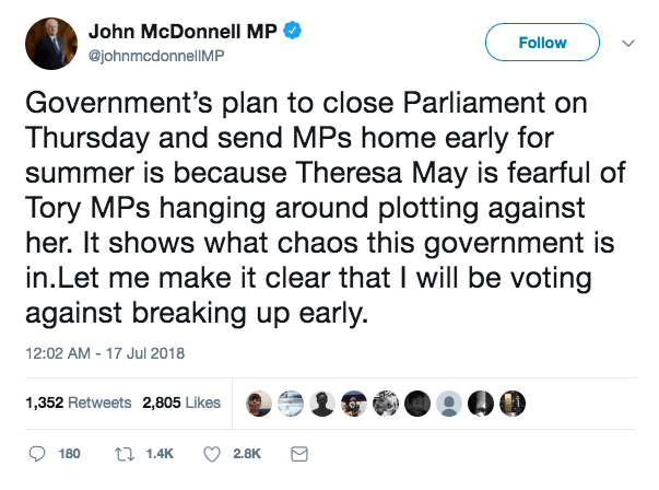 """Labor shadow chancellor John McDonnell tweeted his intentions """"title ="""" Labor Chancellor John McDonnell tweeted his intentions"""