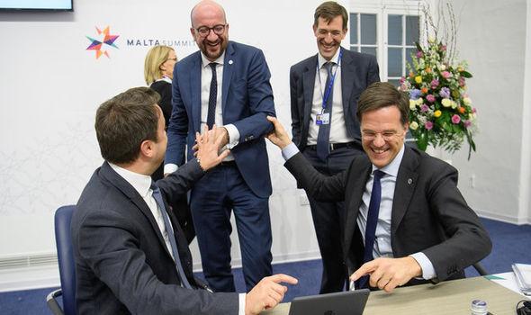 Dutch PM Mark Rutte with EU leaders