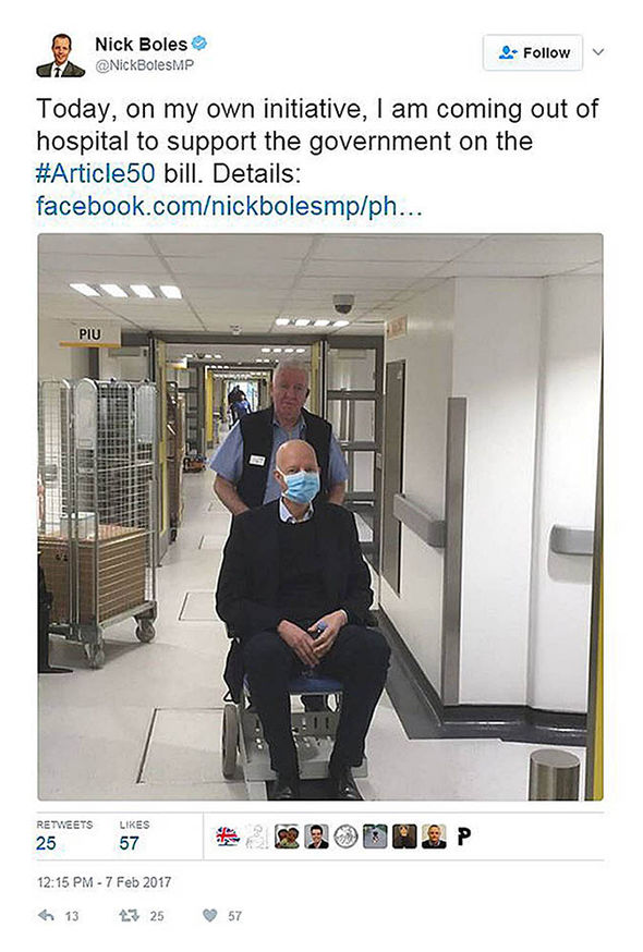 Nick Boles leaving the hospital posted on Twitter