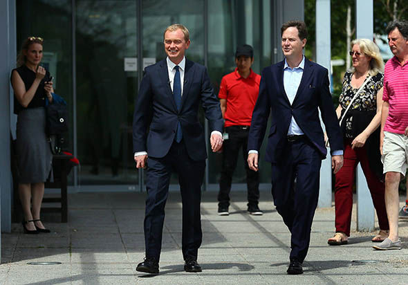 Nick Clegg (R) with Tim Farron