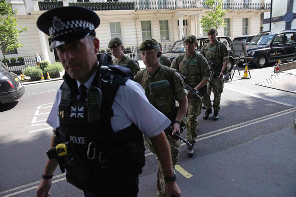 Police and military in London