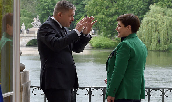 Slovakia's Robert Fico and Poland's Beata Szydlo