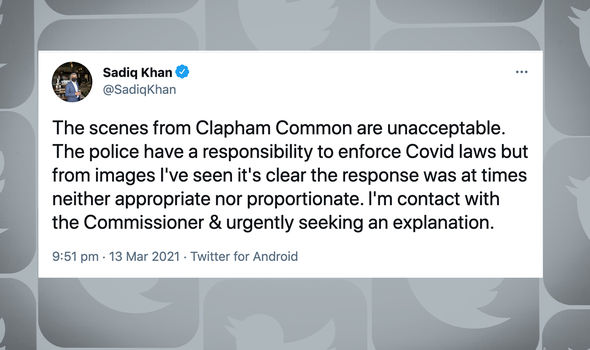 Sadiq Khan described the police action as 'neither appropriate nor proportionate'