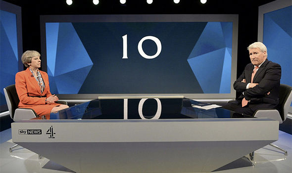 Theresa May being quizzed by Jeremy Paxman