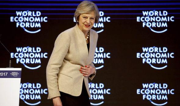 Theresa May speaks at Davos