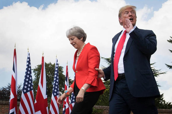 Tory party chaos: May with Trump  Tory party week of CHAOS: Boris senses Theresa May is 'wounded animal' as Trump takes aim | Politics | News Tory party chaos 1419460