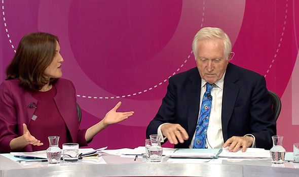 bbc - dimbleby  BBC QT: 'Enough with the project fear lie!' Audience member furious at Remoaner | Politics | News bbc question time brexit eu european union belfast war therea villiers jonathan lynn 1094497
