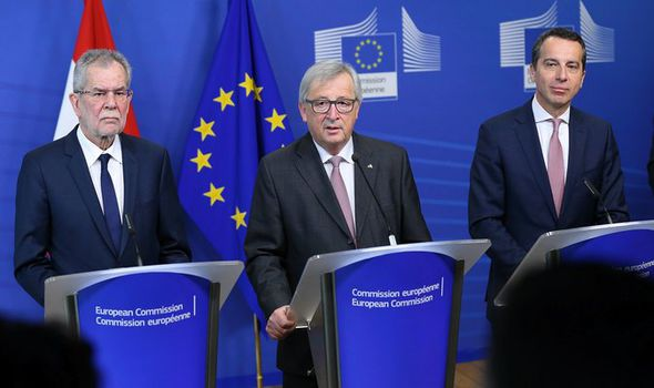 Austrian president Alexander Van der Bellen with Jean-Claude Juncker and Christian Kern