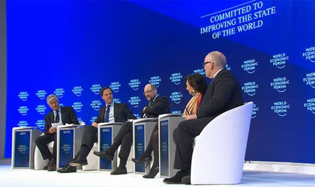 The panel at the debate in Davos