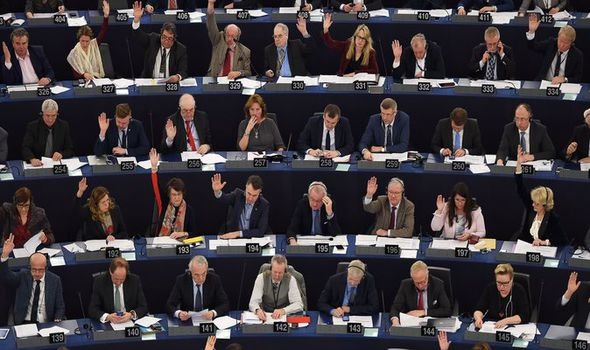 MEPs vote in the EU parliament
