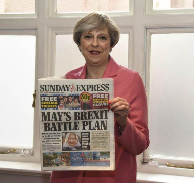 Theresa May and Sunday Express