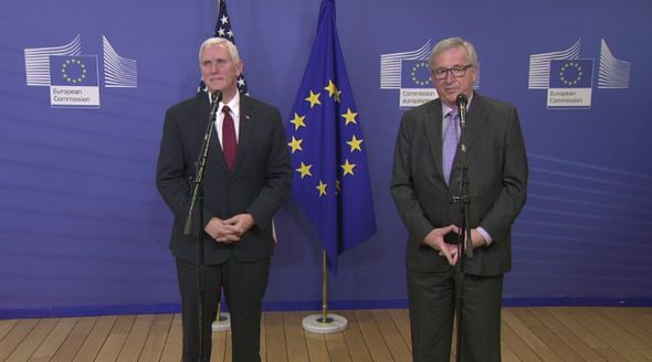 Jean-Claude Juncker and Mike Pence