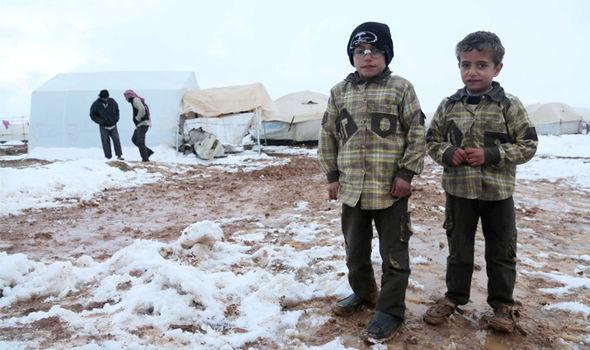 Syrian children in a refugee camp near Aleppo