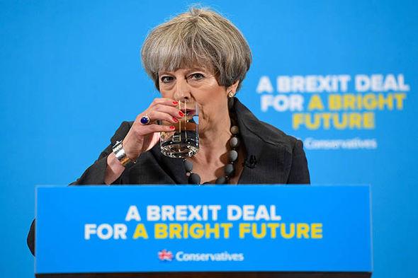 Theresa May drinking water