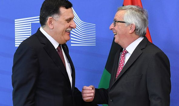Libyan PM Fayez al-Sarraj and EU Commission president Jean-Claude Juncker