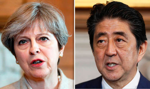 Image result for Prime Minister Shinzo Abe, Theresa May, august 2017, photos