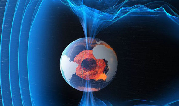 The magnetosphere surrounding Earth providing a protective layer