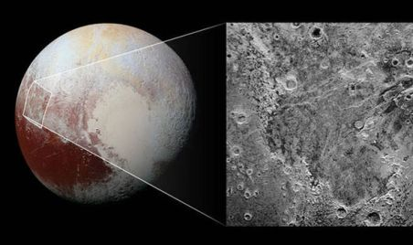 NASA graphic showing the area of Pluto that has seen ice retreat