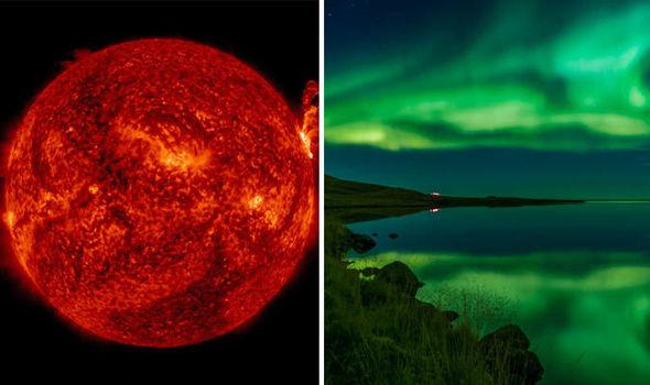 Solar storm tomorrow, aurora borealis in sky