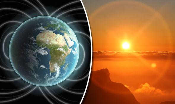 Le champ magnétique de la Terre (à gauche) serait parti, nous laissant à la merci des éruptions solaires