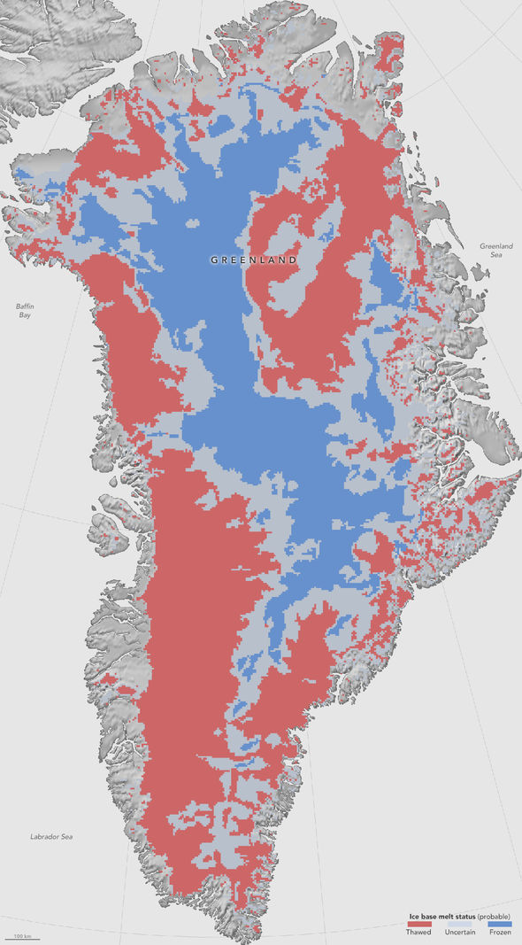 This first-of-a-kind map, showing which parts of the bottom of the Greenland Ice Sheet are likely thawed (red), frozen (blue) or still uncertain (gray