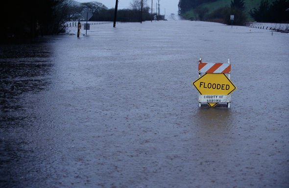 Street inundated with flood water