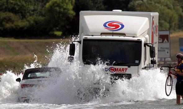 Truck in flood water