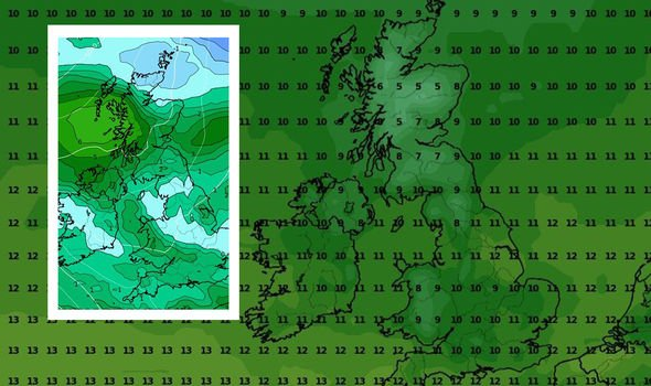 UK weather news: WXCharts mock up showing temperatures for Saturday 17