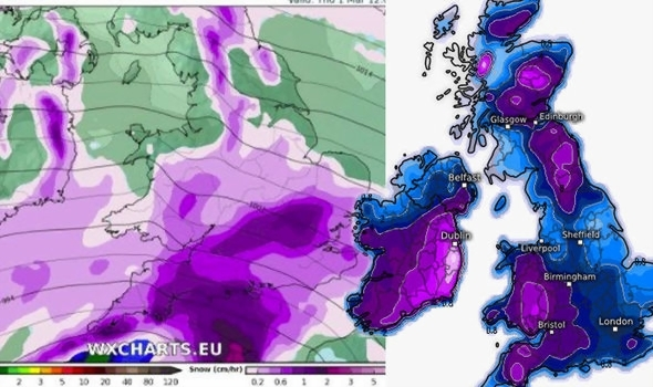 UK snow forecast  Three weather fronts to CONVERGE forming HUGE     Snow forecast to hit on Thursday and Friday Weather US