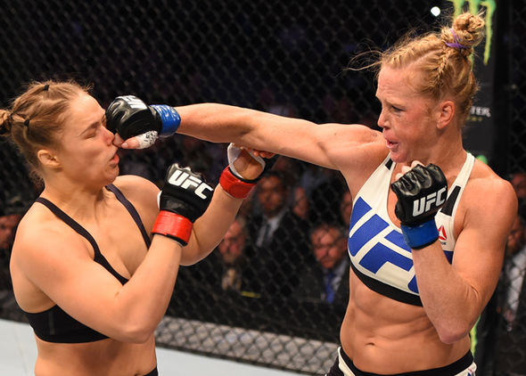 Holly Holm and Ronda Rousey