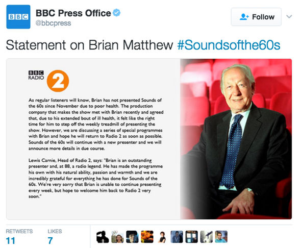 BBC Radio 2 Brian Matthew Sounds of the Sixties sack