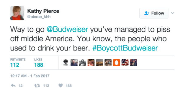 Boycott Budweiser Super Bowl 2017 advert