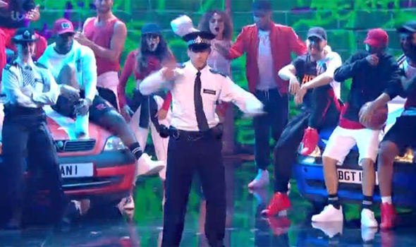 PC Dan throws shapes on the Britain's Got Talent stage