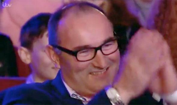 Reuben Gray's father Toby watches his son on Britain's Got Talent