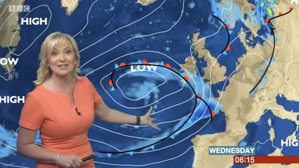 Carol Kirkwood said it will be wet weather