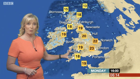 Carol Kirkwood told viewers it will be quite warm