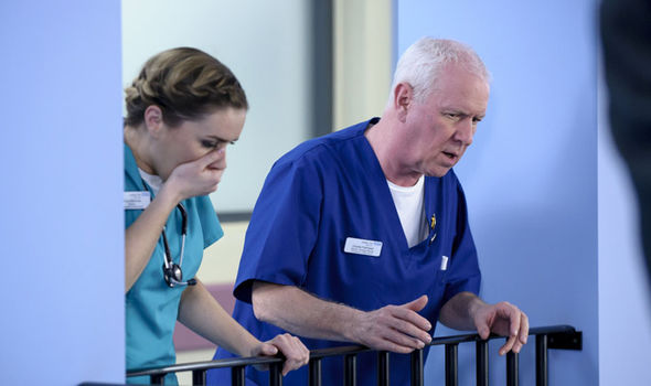 Charlie Fairhead looks shocked in BBC medical series Casualty