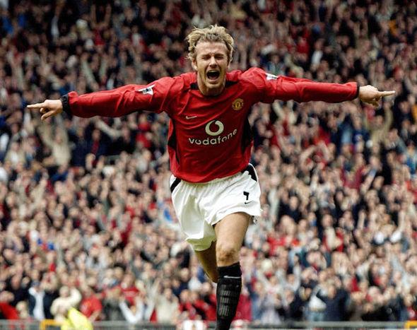 David Beckham playing football