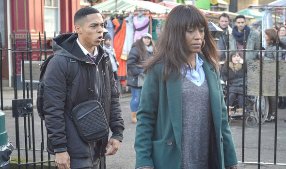 Denise Fox and Keegan Baker nearly come to blows on EastEnders