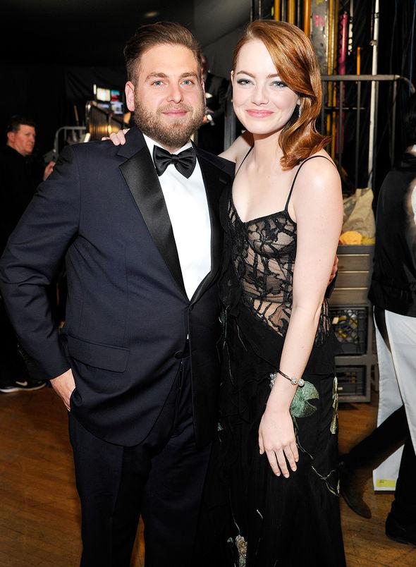 Emma Stone and Jonah Hill seemed happy