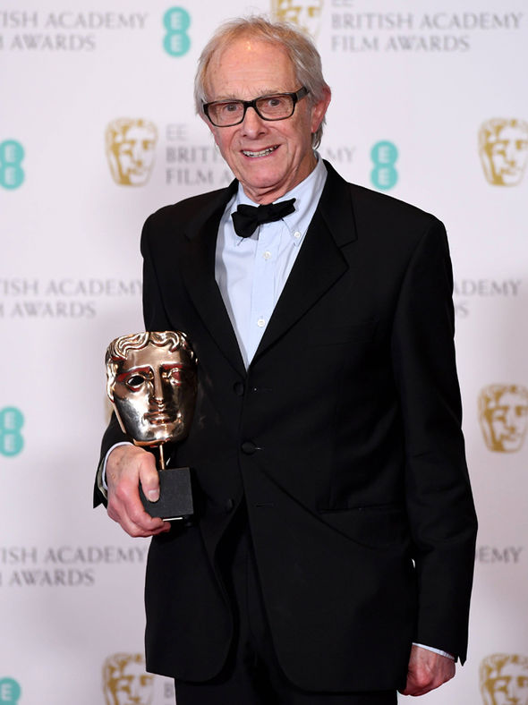 Director Ken Loach with his BAFTA Award for Best British Film