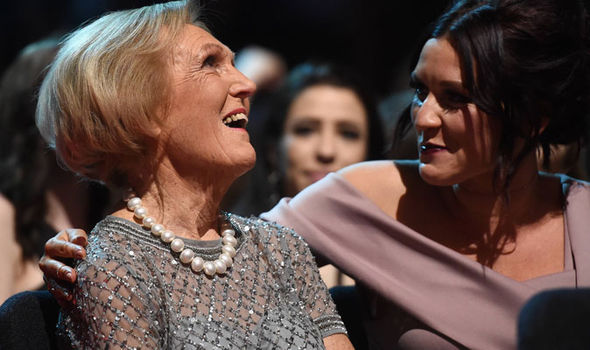 Mary Berry reacts to winning the Best TV Judge during the National Television Awards