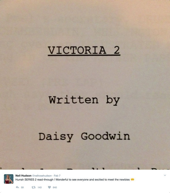 Nell Hudson tweeted a picture of the script