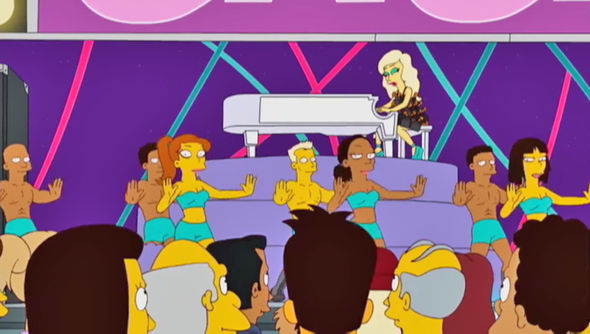 Super Bowl 2017 Lady Gaga playing the piano on The Simpsons
