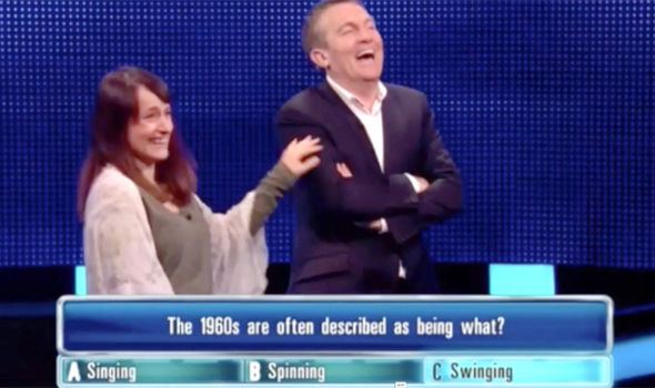 A contestant on The Chase jokes with Bradley Walsh