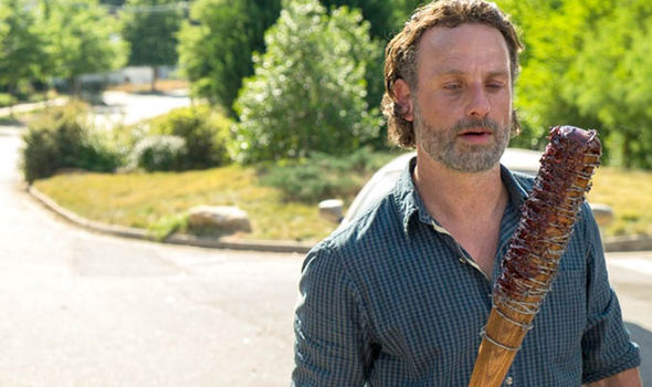 Rick holding Lucille