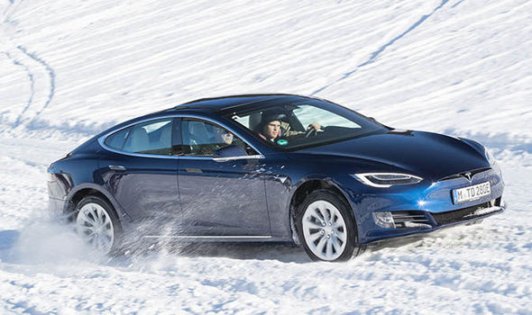 Tesla Model S winter roads test in Alpbach, Austria