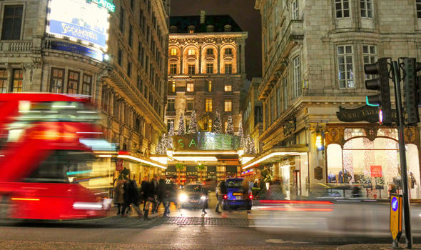 Busy London street with hotel in view