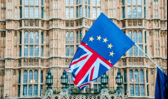 UK and EU merged flag outside Houses of Parliament