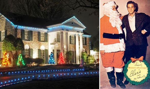 elvis and santa, graceland lit up